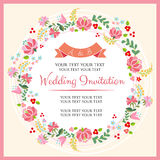 Floral Pink Invitation. Invitation for wedding or any celebration Stock Photo