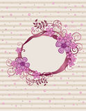 Floral pink oval frame design Royalty Free Stock Photos