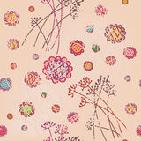 Floral pink seamless wallpaper in pastel Stock Image