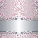 Floral pink & silver invitation vintage retro vector wallpaper design Royalty Free Stock Images