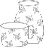 Floral pitcher and cup coloring page Royalty Free Stock Photography