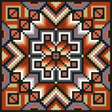Floral pixel art pattern in desaturated colors Royalty Free Stock Photography
