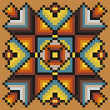 Floral pixel art pattern in warm colors on a light brown background Stock Image