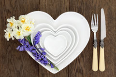 Floral Place Setting on Oak Stock Image