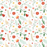 Floral and plant vector seamless pattern. Wrapping paper design. Vintage colors Royalty Free Stock Photo