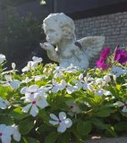Floral Planter With Angel Statue Stock Image