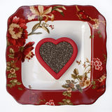 Floral Plate with Chia Seed Heart Stock Image