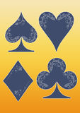 Floral playing card symbols Royalty Free Stock Images