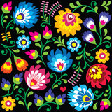 Floral Polish folk art pattern on black Royalty Free Stock Photo