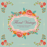 Floral Polkadot Vintage Label. Card of floral with vintage or retro style Royalty Free Stock Photography