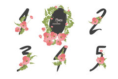Floral poppy  collection numbers in vintage color. Floral poppy collection numbers in vintage color. One, two, three, four, five - signs Royalty Free Stock Image