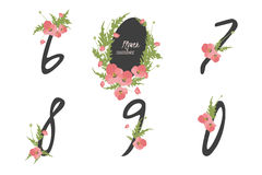 Floral poppy  collection numbers in vintage color. Six, seven, eight, nine, zero- signs Royalty Free Stock Images