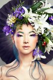 Floral Portrait of Beautiful Model Woman Royalty Free Stock Photography