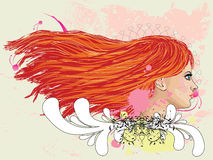 Floral portrait of red haired girl Stock Images