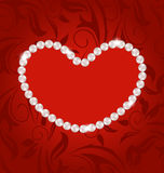Floral postcard with heart made in pearls for Valentine Day, cop Royalty Free Stock Photography