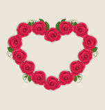 Floral postcard with heart made in roses for Valentine Day, copy Stock Images