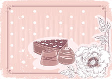 Floral postcard .Sweetest day. Floral postcard with chocolate sweets .Vector background in pastel colors.Vintage card Royalty Free Stock Images
