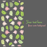 Floral postcard template. Background with green and pink flowers. EPS 10 Stock Images