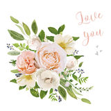 Floral poster banner card Design: peach orange Dahlia Anemone fl Royalty Free Stock Photography
