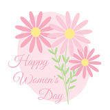 Floral Poster to International Woman Day. Flowers on pink background for greeting card vector illustration. Floral poster to International Woman Day Royalty Free Stock Photos