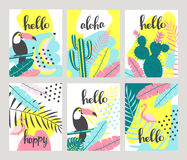 Floral posters set in a tropical style  Stock Photo