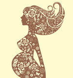 Floral pregnant woman Silhouette Stock Images