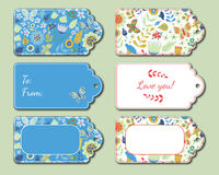 Floral present tags. Holiday gift cards Royalty Free Stock Photography