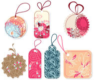 Floral price tags. A set of price tags in trendy colors Stock Photo