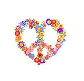 Floral print with peace symbol Royalty Free Stock Photography