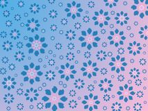 Floral print on pink blue background, painted blue and pink flow stock photo