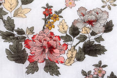 Floral prints on cotton Stock Photos
