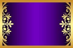 Floral Purple And Gold Frame Royalty Free Stock Photography