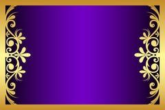 Floral purple and gold frame vector illustration