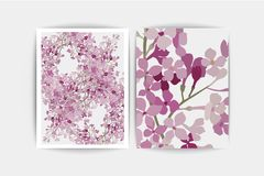 Floral purple lilac on white background. Wedding invitation card.. Floral purple lilac background. Wedding invitation card. Vector composition of pink flowers Royalty Free Stock Images