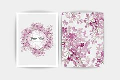 Floral purple lilac on white background. Wedding invitation card. Vector composition. Floral lilac background. Wedding invitation card. Vector composition of Royalty Free Stock Photo