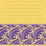 Stylized vector plants festive vector pattern purple pattern on a yellow background with squares stock illustration