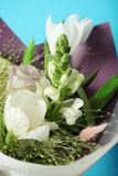 Floral purple and white bouquet. Bloom bulb flowers.  stock photography