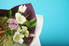 Floral purple and white bouquet. Bloom bulb flowers.  stock photo