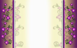 Floral Purple Yellow Background Border white broderie Stock Photo