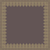 Floral  Quadratic Frame. Oriental  abstract quadratic frame with arabesques and floral elements. Fine greeting card. Brown and golden colors Stock Images