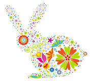 Floral rabbit. A rabbit design made with colorful flowers Royalty Free Stock Images