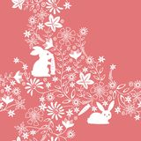 Floral and Rabbit Pattern Royalty Free Stock Photography