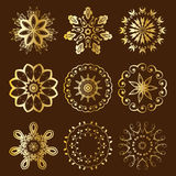 Floral Radial Gold Ornament. Floral Radial Vector Rosette Gold Ornament Set on brown background royalty free illustration
