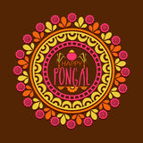 Floral rangoli for Happy Pongal celebration. Beautiful floral design decorated rangoli for South Indian harvesting festival, Happy Pongal celebration Royalty Free Illustration