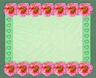 Floral rectangular frame with tulle background Royalty Free Stock Image