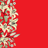 Floral red background. gentle flower pattern. Flowers lily background. Floral seamless texture with flowers. Vector Graphic Royalty Free Illustration