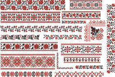 Floral Red and Black Patterns for Embroidery Stitch Royalty Free Stock Photo
