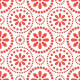 Floral red cirles abstract seamless vector pattern. Abstract geometric pattern background stock illustration