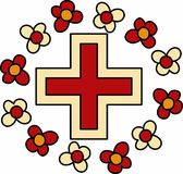 Floral Red Cross Royalty Free Stock Image