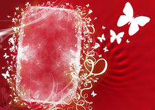 Floral red frame. Abstract floral frame red background vector Royalty Free Stock Photos